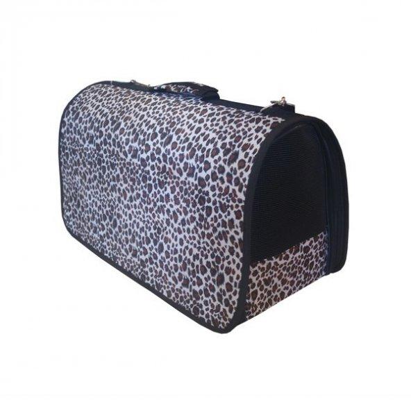 ANS Leopar Desenli Kedi Köpek Taşıma Çantası M 24-24-40