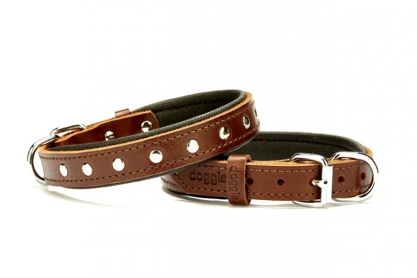 Doggie Deri Rivetli Köpek Tasması 2,0x45 cm Small Kahverengi