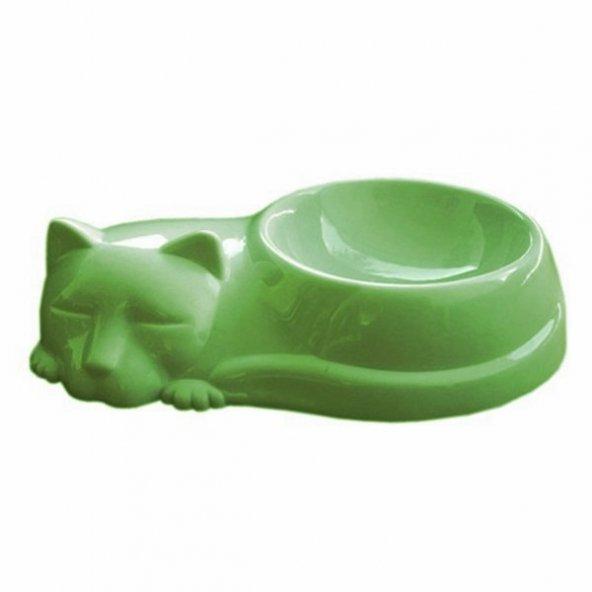 Kedi Figürlü Kedi Mama Ve Su Kabı Yeşil 250 ml