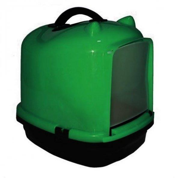 Kapalı kedi tuvalet kabı 49.5*40*50 cm Yeşil