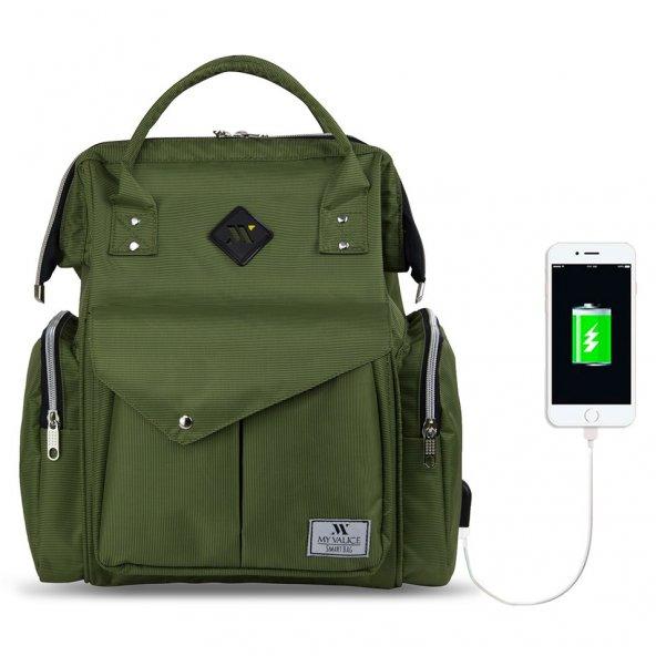 My Valice Smart Bag Happy Mom Usbli Anne Bebek Bakım ve Sırt Çantası Yeşil