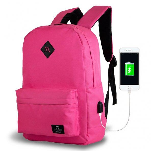 My Valice Smart Bag SPECTA Usb Şarj Girişli Akıllı Sırt Çantası Pembe