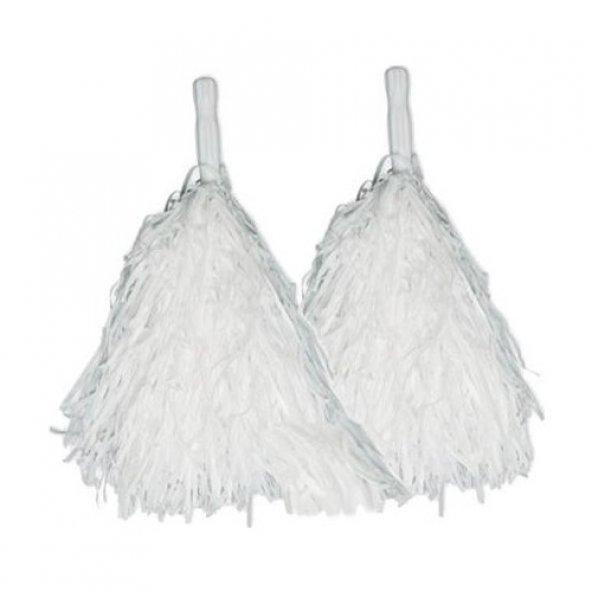 Ponpon Metalize Çiftli Beyaz P20