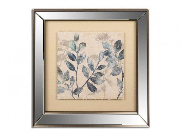 Mavi Yaprak Gümüş Aynalı Pano 49x50cm