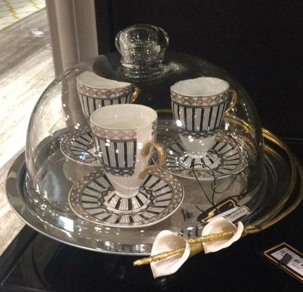 SadeHomeDecor luckyart galalı cam fanuslu kek tabağı 31 cm
