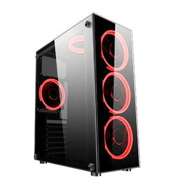 DARK 500W Powerlı Pencereli Kırmızı LED ATX Siyah Kasa DKCHSPTR500