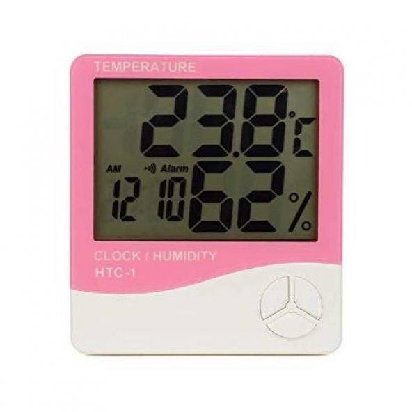Htc-1 Dijital Termometre Sıcaklık Ve Nem Ölçer Masa Saati  Isı Alarmı Pembe