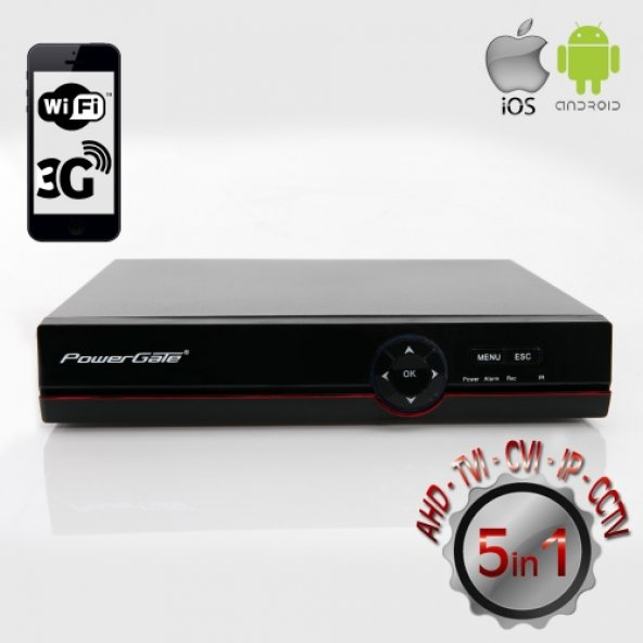 POWERGATE 4in1 4kanal 4mp FLASH-D04 4K 1x 6tb AHD,CVI,TVI Kayıt C