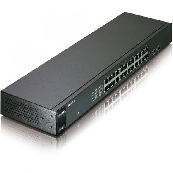 ZyXEL 24port GS1100-24 Gigabit 2xSFP Yönetilemez Switch RackMount
