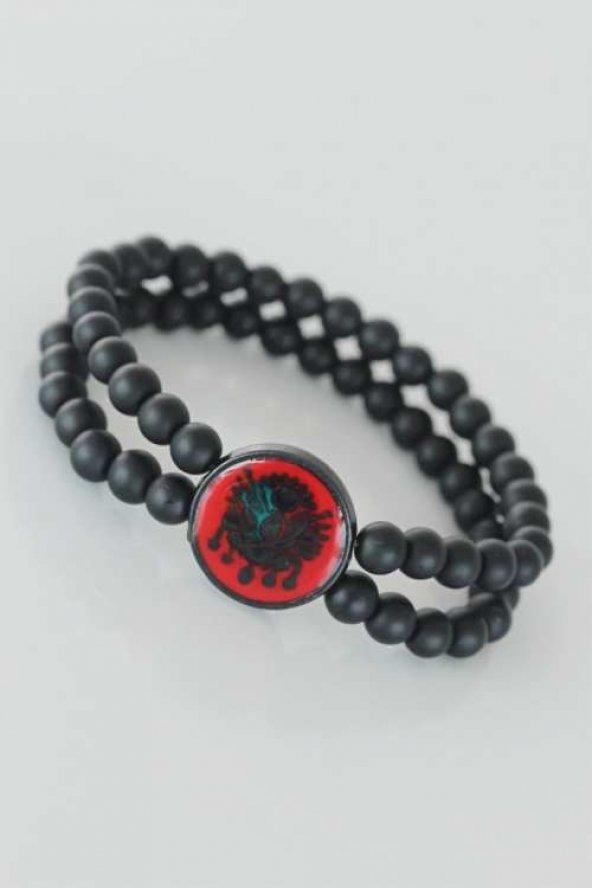 Kırmızı Renkli Metal Üzerine Osmanlı Arma Figürlü Siyah Renk Çift Sıra Doğal Taş Erkek Bileklik