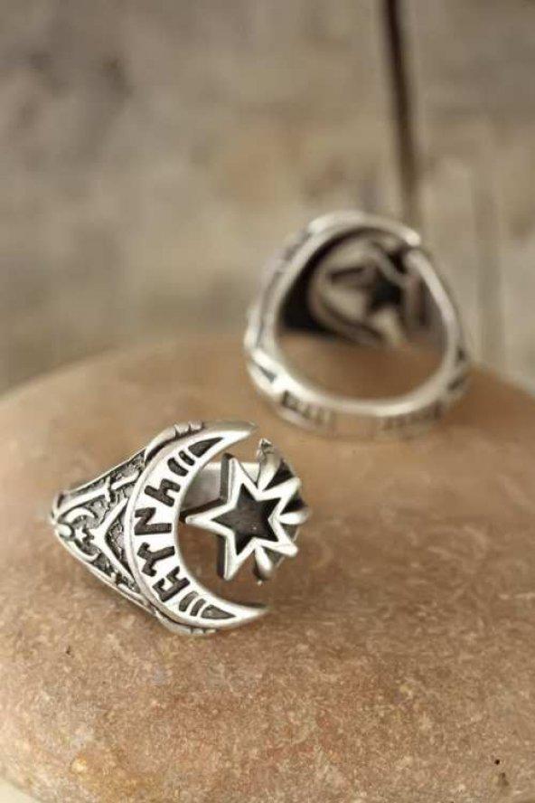Eskitme Gümüş Renk Göktürkçe Türk Yazılı Erkek Ayarlamalı Yüzük