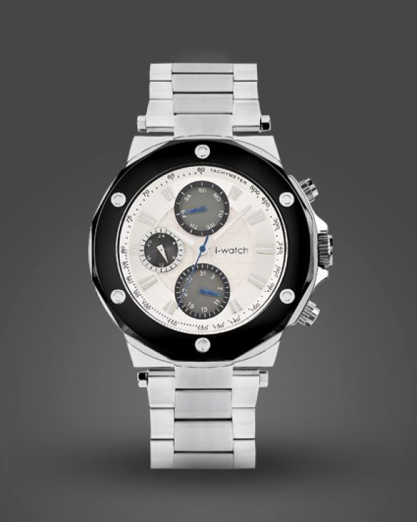 İ-Watch 5243-C9 Siyah Çerceve Detaylı Spor Çelik Kasa Kordon