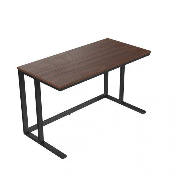 Tekli Desk Çalışma Masası - Mat Siyah Ayak Ceviz Kaplama