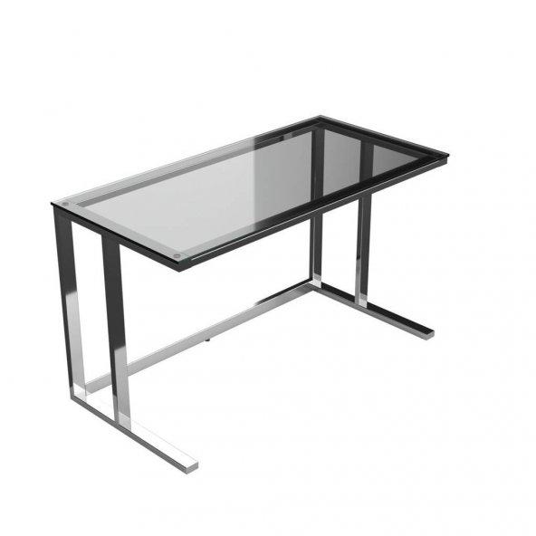 Tekli Desk Çalışma Masası - Parlak Paslanmaz Ayak Füme Cam