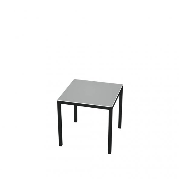Posran Metal Yan Sehpa 40x40x40 Beyaz Cam