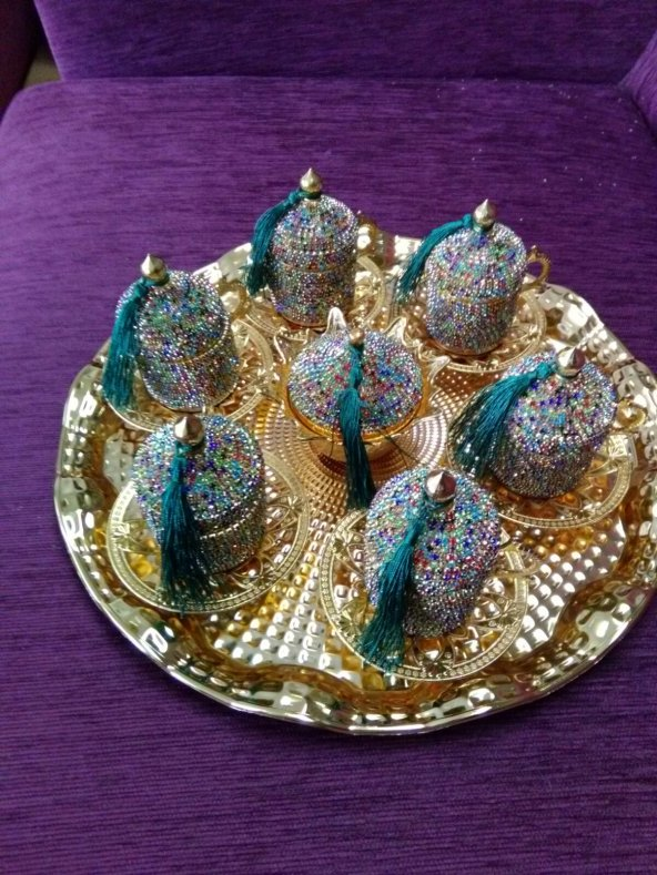 Kristal Taşlı Gold Kahve Fincanı Lokumluk Seti