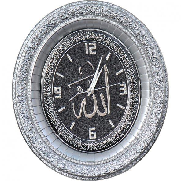 Ayetli Lafızlı Taşlı Lüks Duvar Saati 32x37 cm