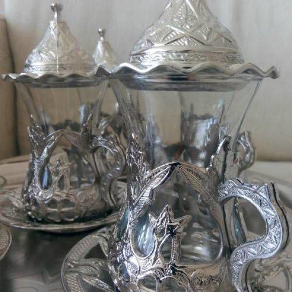 Osmanlı Motifli ÇAY BARDAK Seti -LALE DESENLİ Gümüş Renk