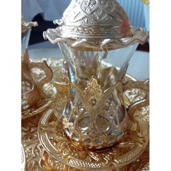 Osmanlı Motifli ÇAY Seti -Altın, Bakır ve Gümüş Renk