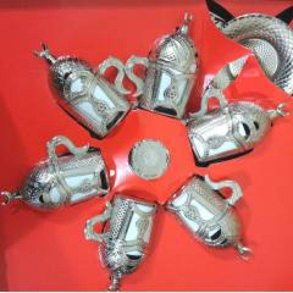 Lale Motifli Gümüş Kahve Fincan Takımı Lale Desenli 6lı Set