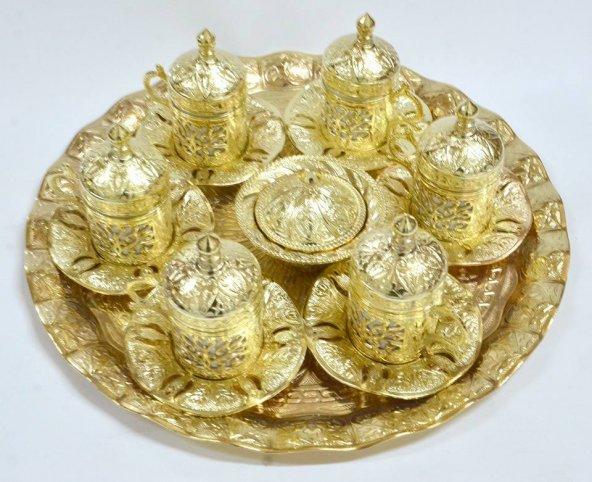 Osmanlı Motifli 6 Kişilik Kahve Fincanı Seti -ALTIN SARISI