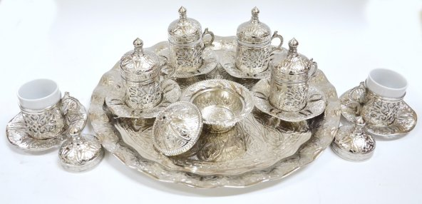Osmanlı Motifli 6 Kişilik Kahve Fincanı Seti - Gümüş