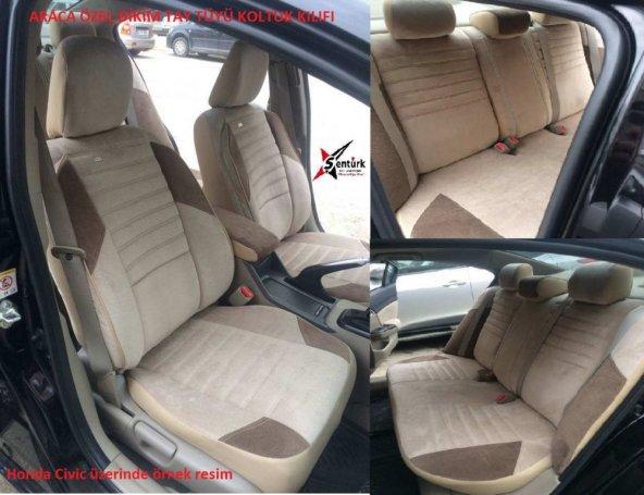 Toyota Corolla 2007 sonrası Krem (Bej) renk Araca özel Oto Koltuk Kılıfı Tay Tüyü