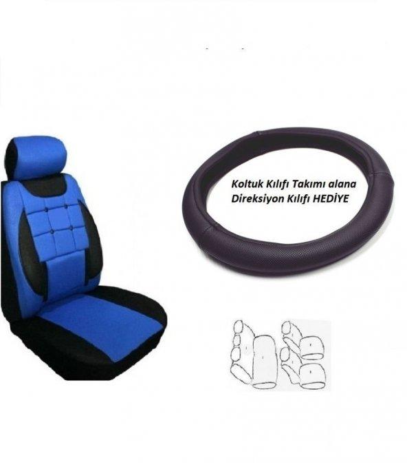Ford Fuseon Uyumlu Oto Koltuk Kılıf Takımı Mavi - Direksiyon Kılıfı Hediye