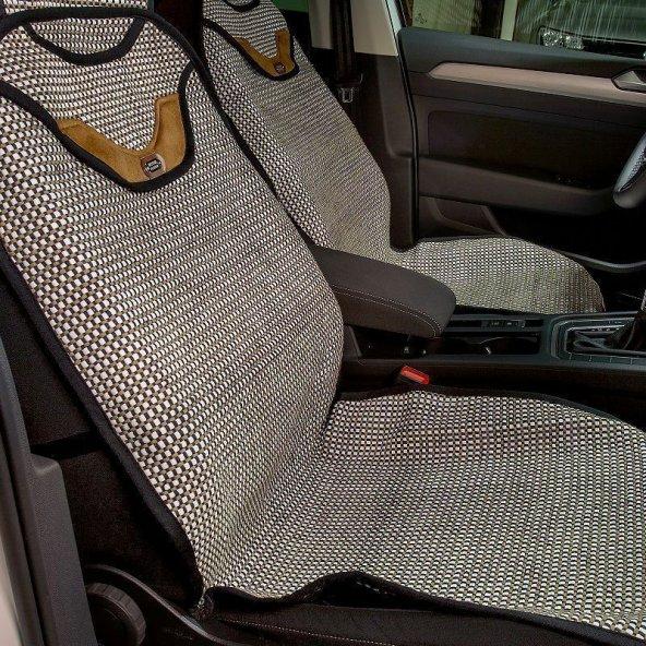 Toyota Tüm Modellerine Uyumlu Oto Koltuk Kilim minder 2li set Beyaz/Bej