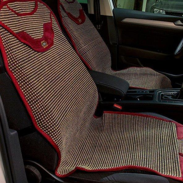 Suzuki Tüm Modellerine Uyumlu Oto Koltuk Kilim minder 2li set Bordo/Bej
