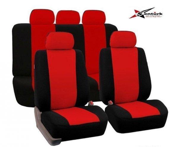 Chevrolet Aveo Uyumlu Oto Koltuk Kılıfı Eko Seri Ön Arka Set Kırmızı