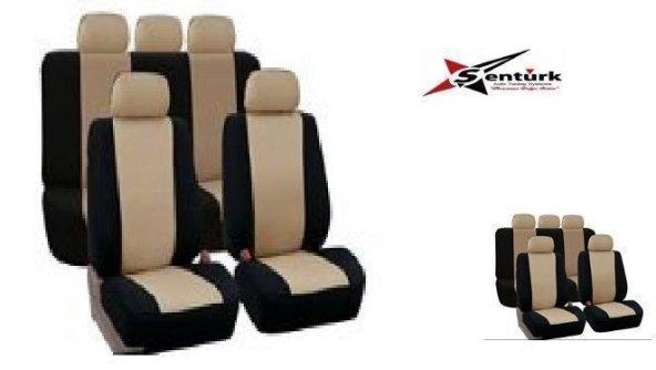 Peugeot 307 Uyumlu Oto Koltuk Kılıfı Eko Seri Ön Arka Set Bej Siyah