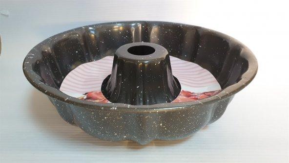 Lavin Granit Döküm Kek Kalıbı Orta Boy Kahve/Gri
