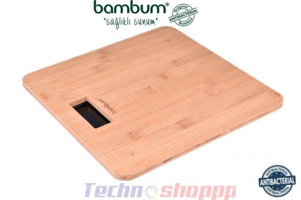 Bambum Slim Dijital Bambu Banyo Baskülü | Kare | Kilo Kontrolü