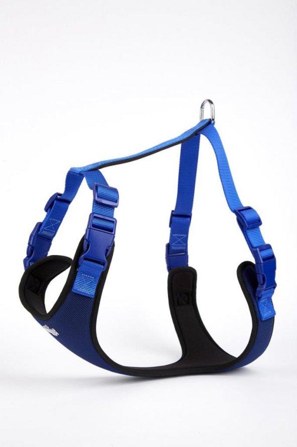 Doggie Softlu Siyah Köpek Bel Tasması 60/85 cm Mavi