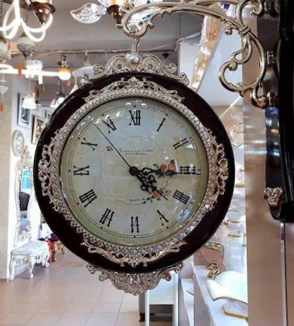 Gold detaylı taşlı kahve istasyon saat