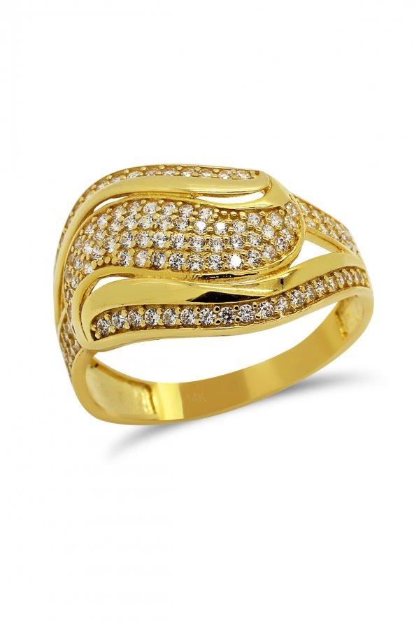 Cigold 14 Ayar Altın Taşlı Yüzük 21K1YZ03490002132