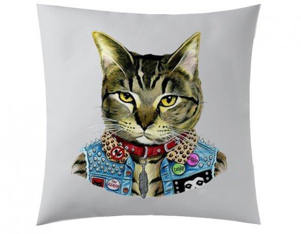 Rockçı Kedi Kırlent