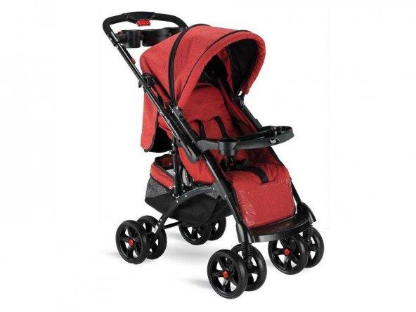 Babyhope BH-609 Polo Çift Yönlü Bebek Arabası Kırmızı