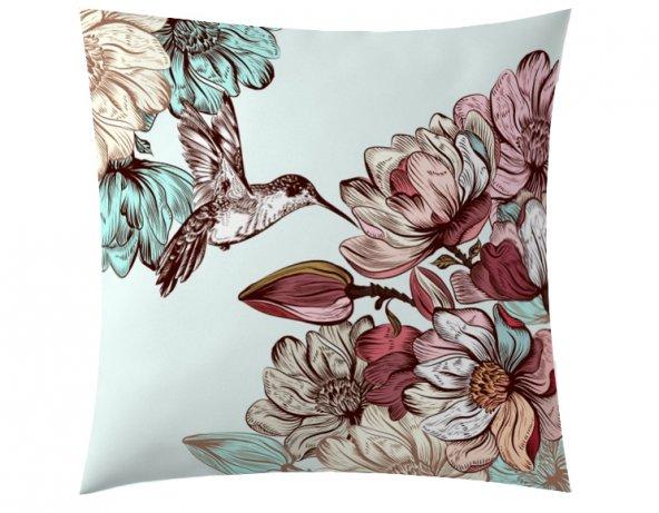 Çiçekli Kuş Kırlent