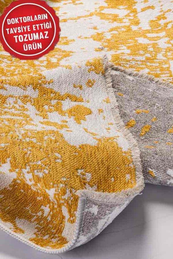 Sarı Gri Modern Kaymaz Kesme Yatak Odası Mutfak Salon Yazlık Halı
