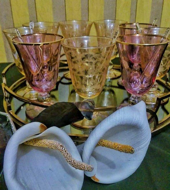 Fantasia,Yaldızlı,Desenli,Renkli Tatlı-İçecek Kupası 6lı-Altın
