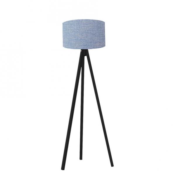 Kumaş Başlıklı 3 Ayaklı Tripod Lambader - Mavi Başlık / Siyah Ay