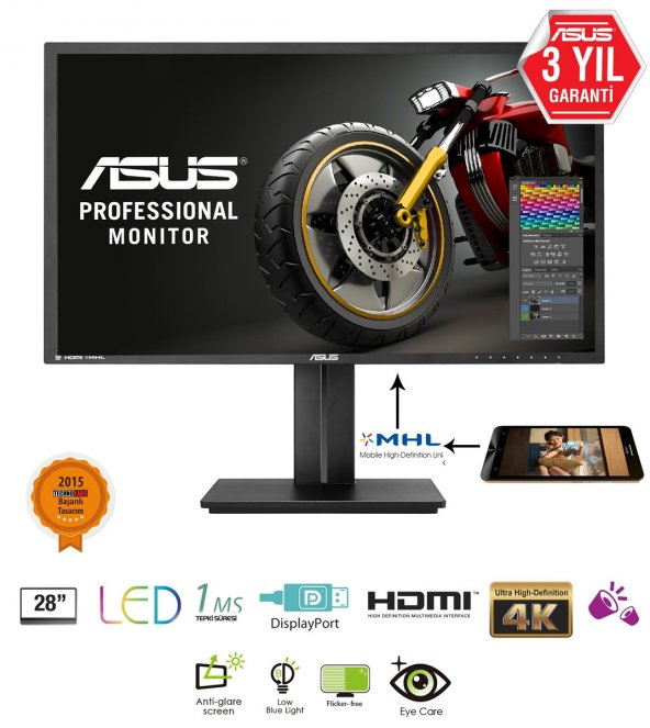28 ASUS PB287Q Gaming, LED 3840x2160 1ms 3YIL DisplayPort,HDMI/MH