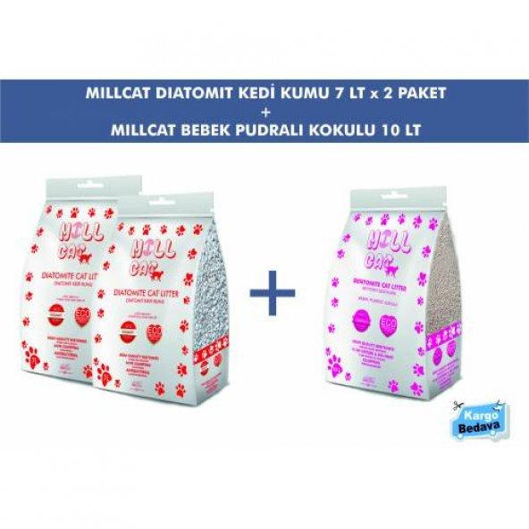 Millcat Diatomit Kedi Kumu 7 Lt(2 Paket) ve Bentonit Kedi Kumu 10 Lt - Fiyat ve Performans Garantisi