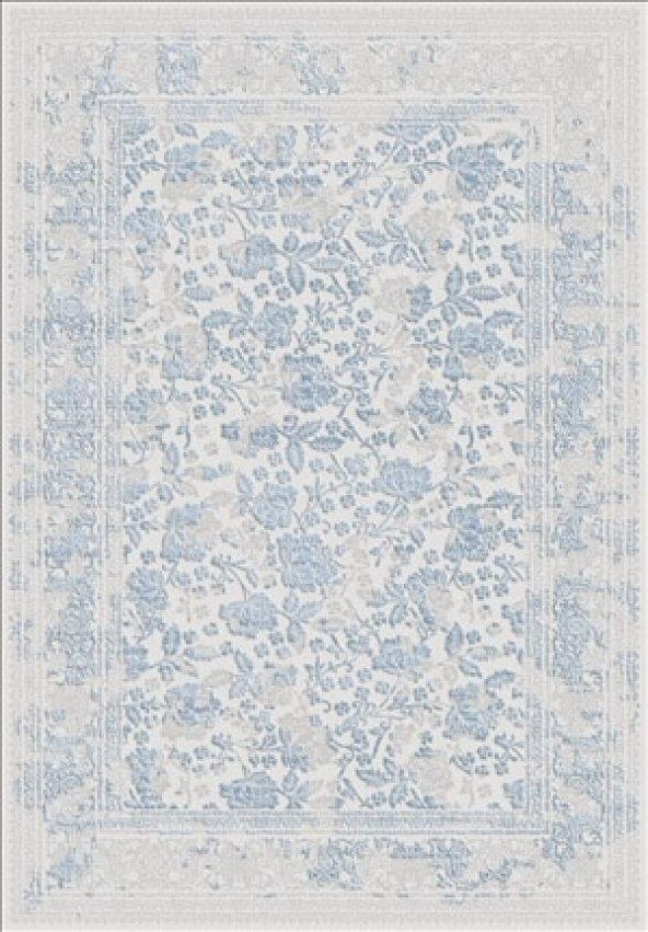 Mavi Renk Çiçek Desenli Bordürlü Salon Halısı .- HS97055T
