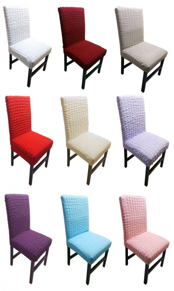 Bürümcük Likralı 1.Kalite Sandalye Kılıfı 6'Lı  - 10 Renk Seçeneği