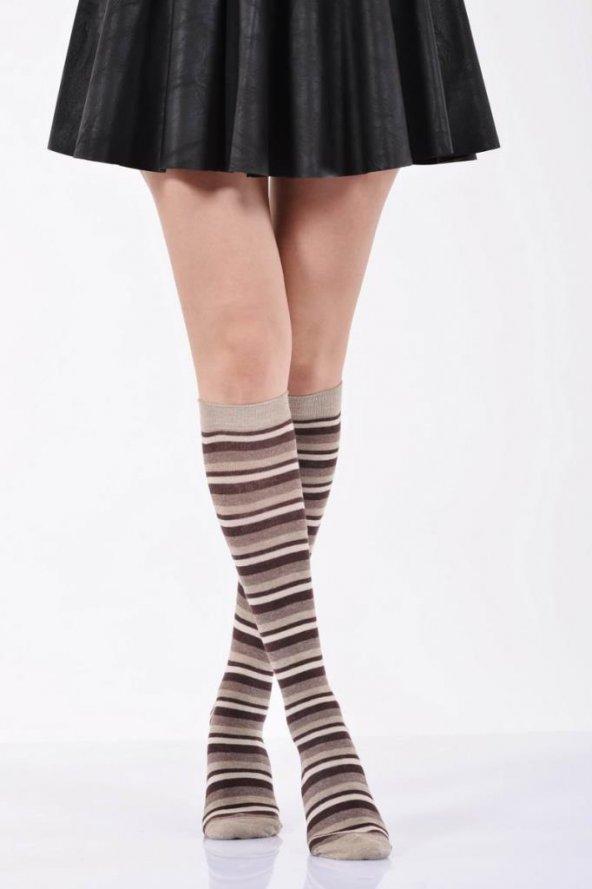 Çemberli Diz Altı Bayan Çorabı  - Bej B-ART013