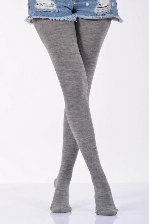 Düz Renk Külotlu Kadın Çorabı - Açık Gri B-ART008