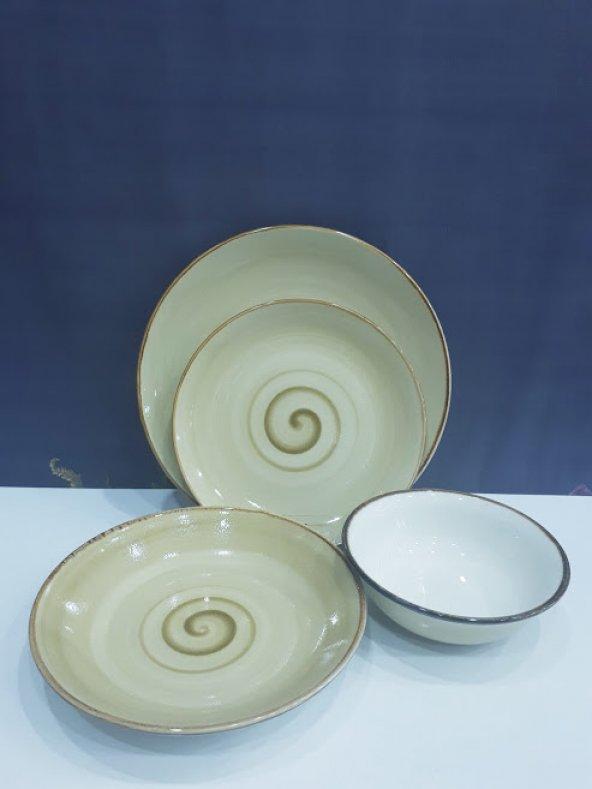 Tulu Porselen Kütahya Reactıve 24 Parça Günlük Yemek